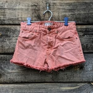 Free People Coral Button Fly Cut off Denim Shorts